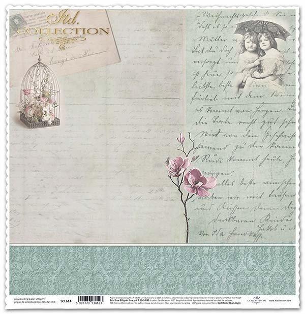 бумага для скрапбукинга, ретро, цветы, почерк*papel para álbum de recortes, retro, flores, escritura a mano*Papier für das Scrapbooking, retro, Blumen, Handschrift