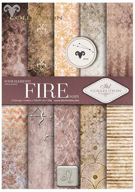 Papiery do scrapbookingu w zestawach - cztery żywioły-Ogień*Papers for scrapbooking in sets - four elements - Fire