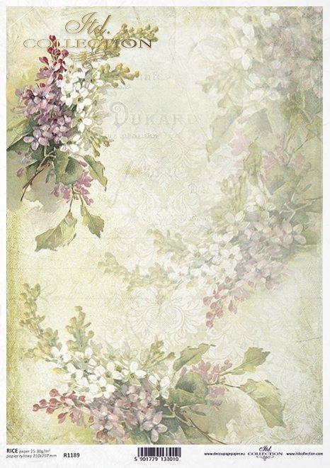 decoupage Papierblumen , Flieder*flores de papel decoupage, lila*декупаж бумажные цветы, сирень