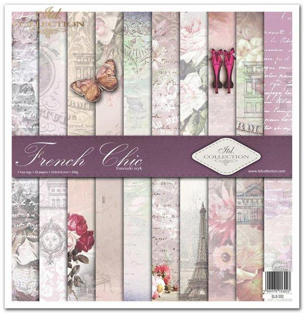 Kolekcja 'Francuski szyk', wieża Eiffla, motyl, róże, karoca, szpilki, manekin, napisy, rower, Vintage