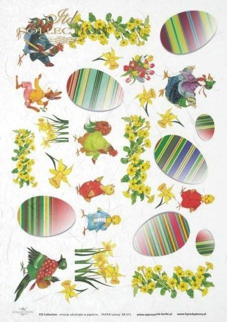 Wielkanoc, wiosna, kwiat, kwiaty, kura, kury, zając, zające, pisanka, pisanki, jajko, jajka, żonkil, żonkile, R067