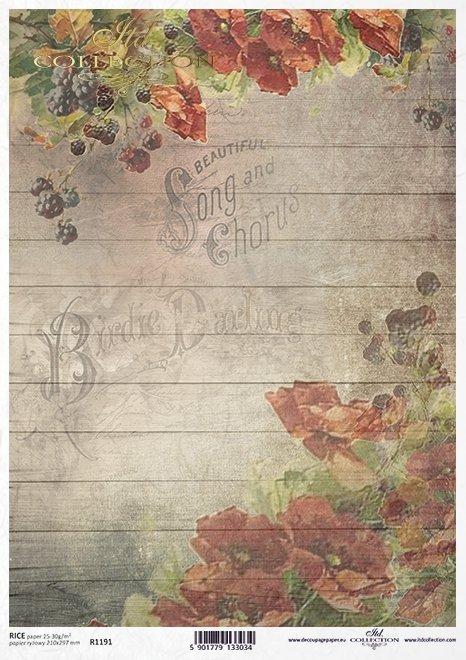 papel decoupage flores, amapolas, moras*decoupage Papierblumen , Mohnblumen , Brombeeren*декупаж бумажные цветы, маки, ежевика