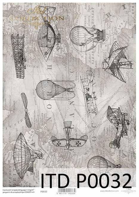 stara-mapa-w-szarości-samoloty-balony-aeroplany-zabytkowe-samoloty-sterowce-dalekie-podróże-przygoda-Pergamin-do-scrapbookingu-P0032