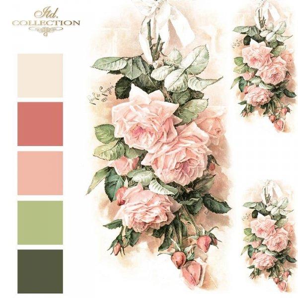 Vintage-kwiaty-różowe-róże-papier-decoupage-ryżowy-R1198