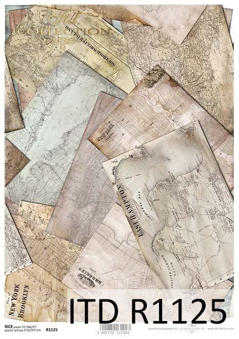 papier decoupage stare mapy*Paper decoupage old maps