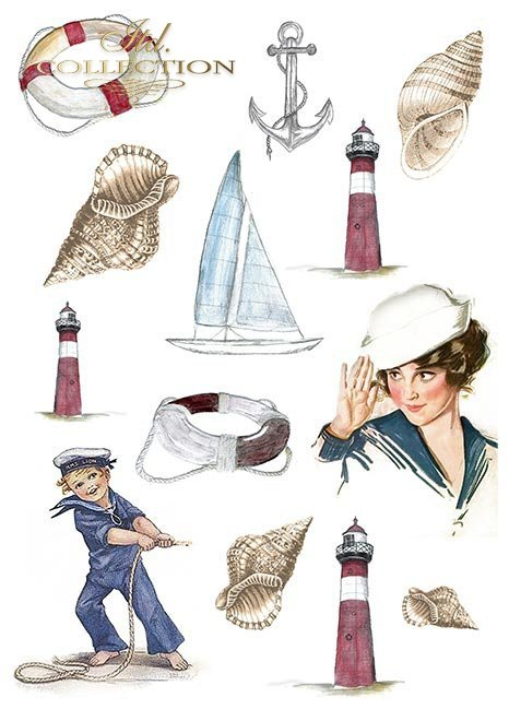 Papiery do scrapbookingu w zestawach - Żeglarska przygoda * Scrapbooking papers in sets - Seafaring adventure