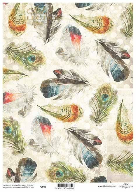 Decoupage Papier mit Federn*papel decoupage con plumas*бумага для декупажа с перьями