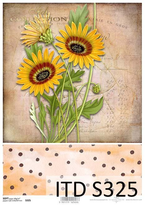 papier decoupage ze słonecznikami*decoupage paper with sunflowers