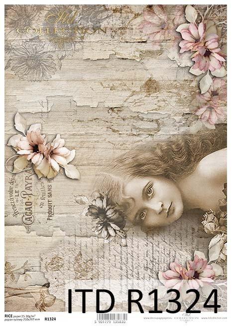 Papier decoupage Vintage, dziewczyna, kwiaty*Vintage decoupage paper, girl, flowers