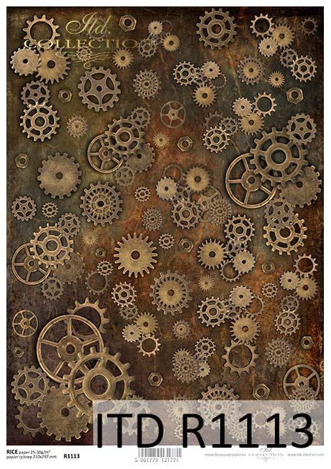 Papier decoupage tła, zębatki, koła zębate, nakrętki*Papier Decoupagepapier Hintergrund, Zahnräder , Zahnräder , Muttern