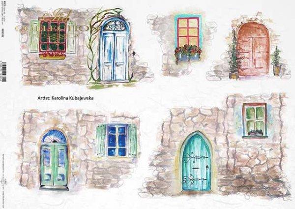 ventanas, puertas, muro de piedra, artista contemporáneo Martyna Kubajewska*Fenster, Türen, Steinmauer, zeitgenössische Künstlerin Martyna Kubajewska*окна, двери, каменная стена, современный художник Мартина Кубаевская