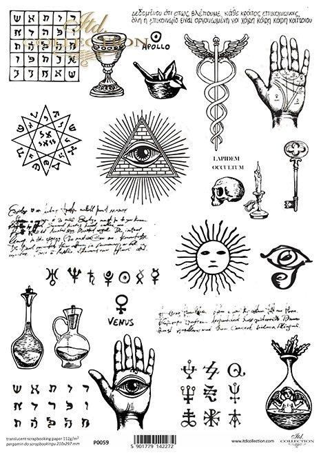 Pergamin do scrapbookingu, ręka, dłoń, linia życja, czaszka, oko, pismo, wróżba, chiromancja, linie papilarne, oko opatrzności, symbole, okultyzm