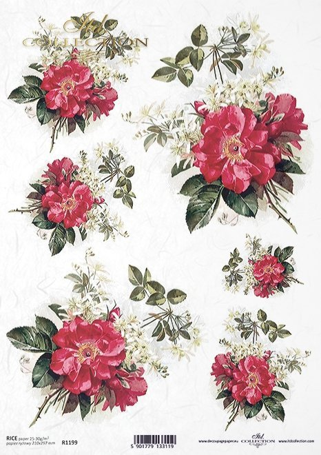 Flores de papel de arroz, rosa silvestre, ramos*Reispapierblumen , wilde Rose, Blumensträuße*Рисовые бумажные цветы, дикие розы, букеты
