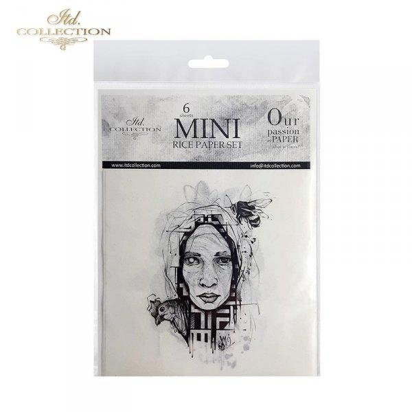 Zestaw papierów ryżowych ITD - RSM011 * Grafiki tatuaży Moniki Dutkiewicz Art * twarz, czaszka, czaszki, wąż, kot