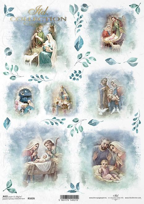Papier ryżowy - Święta w błękicie * Rice paper - Christmas in blue