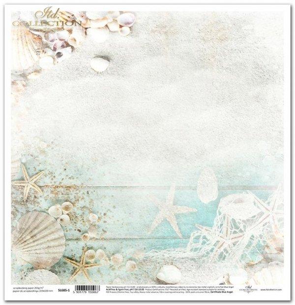 Seria Tropical dreams - piasek, muszelki, rozgwiazdy, deski