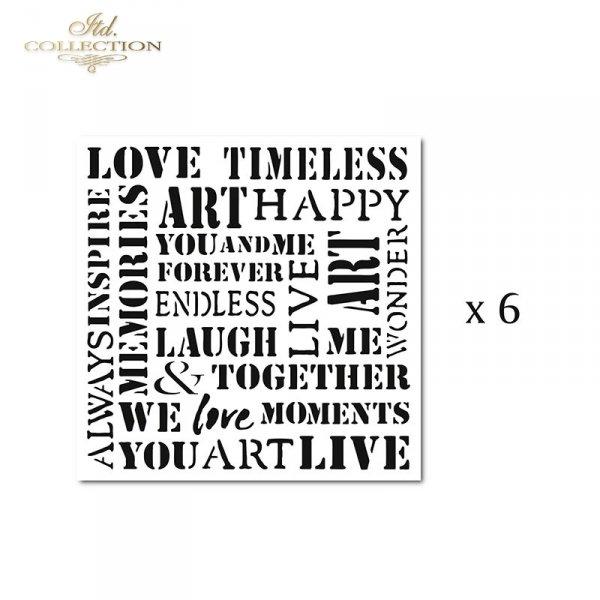 Zestaw 6 papierów specjalnych do mix media, scrapbookingu - napisy: Art, Love, Happy, You, Always, Memories...