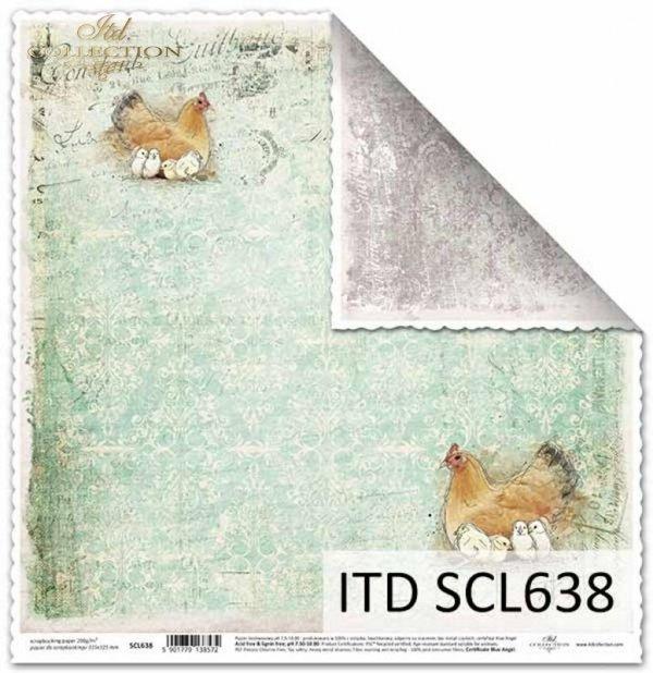 Papier scrapbooking Vintage, kury z kurczakami*Vintage scrapbooking paper, chickens with chickens