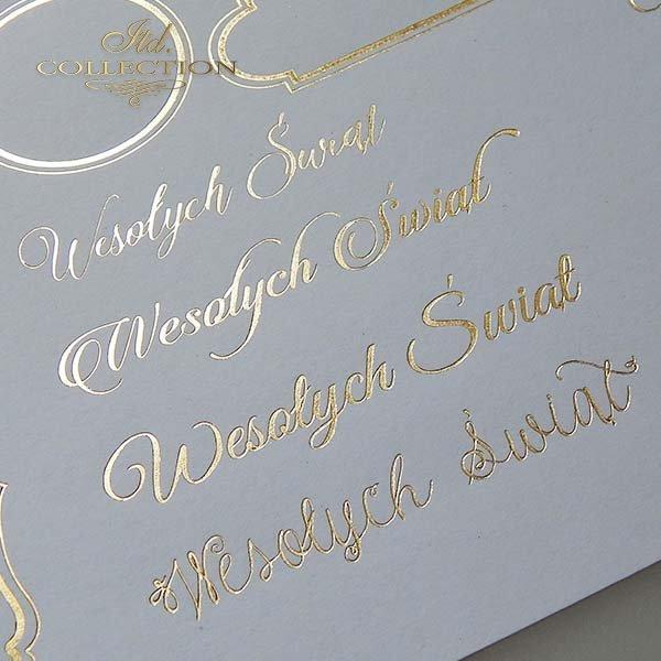 Papier specjalny do scrapbookingu, napisy świąteczne, złote ramki*Spezialpapier für Scrapbooking, Weihnachtsinschriften, goldene Rahmen