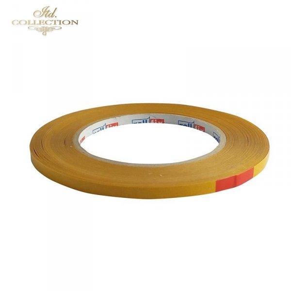 Taśma samoprzylepna, dwustronna, przezroczysta o szerkości 6 mm i długości 50m.