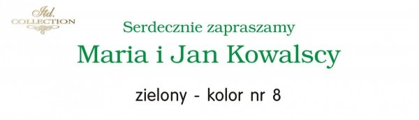 Kolor nadruku na zaproszeniu 08 - ZIELONY