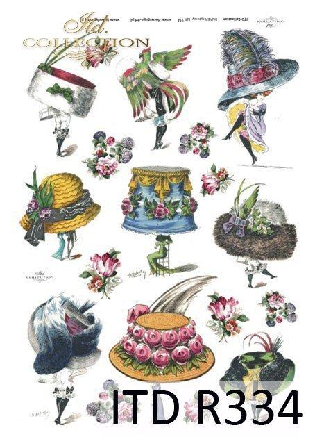 moda, Paryż, dawna Francja, vintage, kapelusz, kapelusze, żart, kwiaty, R334