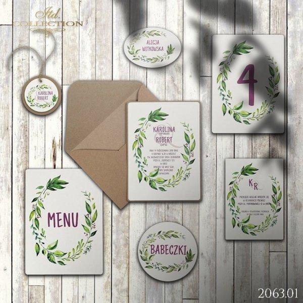 Zaproszenie 2063 * Zaproszenia ślubne * menu * winietka * koperta z wklejką - wersja 1