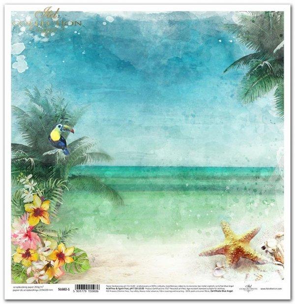Seria Tropical dreams - tropikalna plaża, tukan, palmy, rozgwiazdy, kwiat hibiskusa