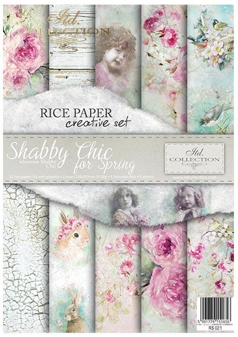 Zestaw kreatywny na papierze ryżowym - wiosenne Shabby Chic*Creative set on rice paper - Shabby Chic for spring