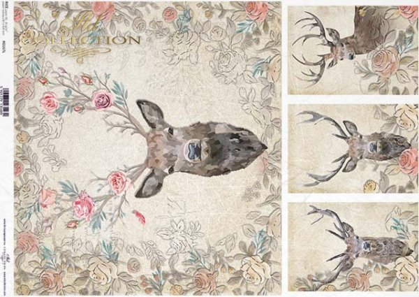 papier decoupage głowy, poroża jelenia*head, antlers deer*cabezas, cuernos de venado*головы, оленьи рога*Köpfe, Hirschgeweihe