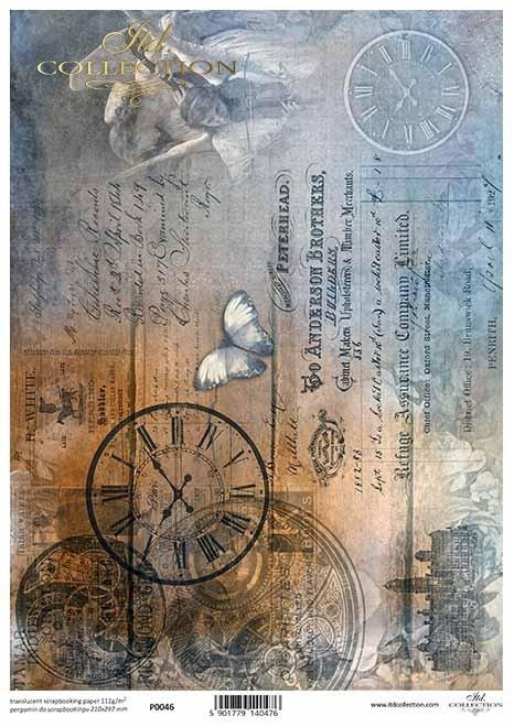 Decoupage Papier Engel, Uhren, Schmetterling, alter Brief, Vintage*papel decoupage Ángeles, relojes, mariposa, carta antigua, Vintage*бумага для декупажа Ангелы, часы, бабочка, старое письмо, Винтаж