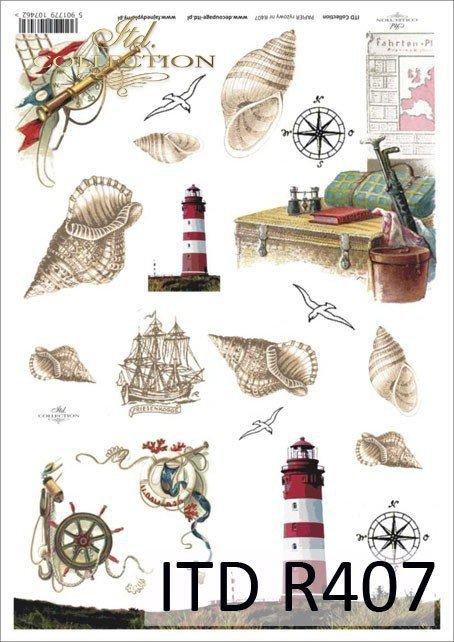 muszla, muszle, muszelka, muszelki, latarnia, latarnie, morski, morskie, róża wiatrów, koło sterowe, żaglowiec, podróż, wakacje, R407