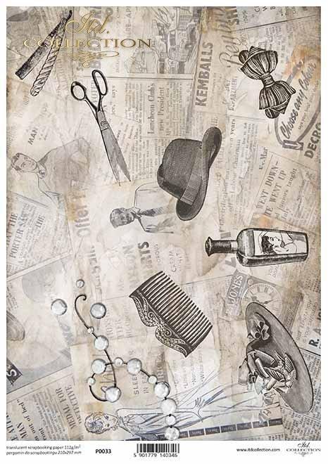 Papier für Scrapbooking, Spezialpapier, lichtdurchlässig*Papel para scrapbooking, papel especial, translúcido