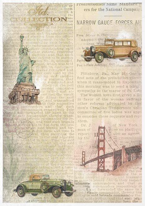 Conjunto creativo sobre papel de arroz - Autos antiguos*Kreativsatz auf Reispapier - alte Autos*Креативный набор на рисовой бумаге - Старые машины