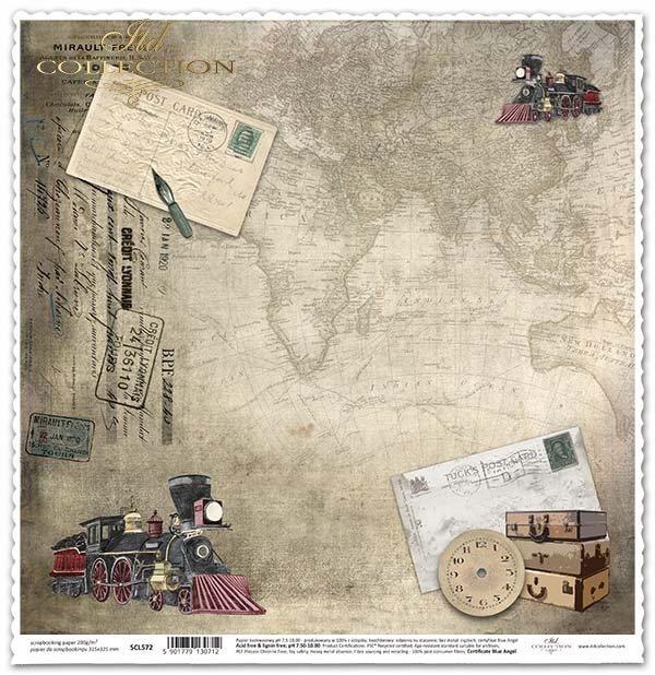 Papel para álbumes de recortes - viajar en tren, maleta*Papír na scrapbooking - cestování po železnici, kufr
