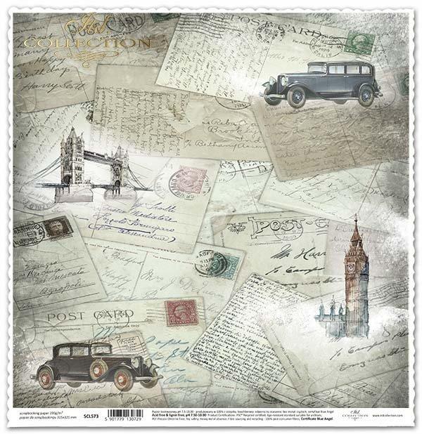 Papier für das Scrapbooking - Postkarten aus der ganzen Welt* Papír na scrapbooking - pohlednice z celého světa