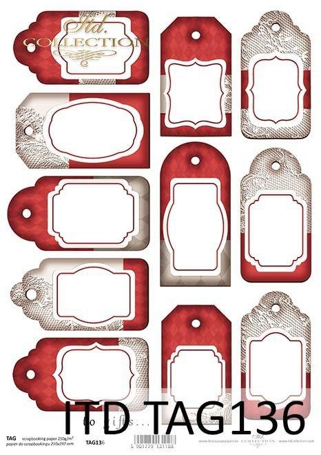 papier do scrapbookingu, świąteczne tagi, zawieszki*paper for scrapbooking, Christmas tags, pendants
