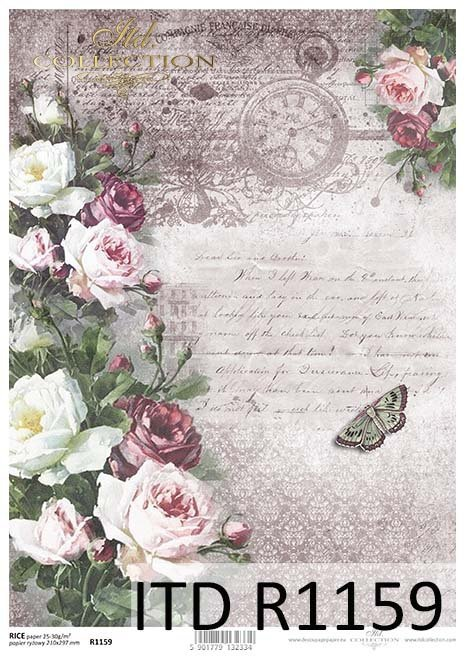 papier decoupage Vintage, kwiaty, róże, motyle*Vintage papel decoupage, flores, rosas, mariposas