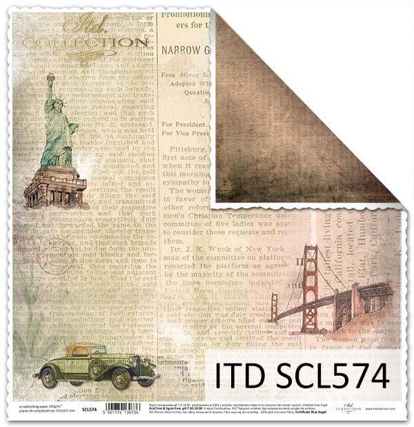 Papier do scrapbookingu - stara gazeta, Statua Wolności*Paper for scrapbooking - old newspaper, the Statue of Liberty