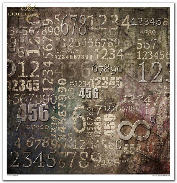 Kolekcja 'Steampunk', śrubki, zębatki, trybiki, alfabet, cyfry, zegary, rdza, cyferblaty, wskazówki