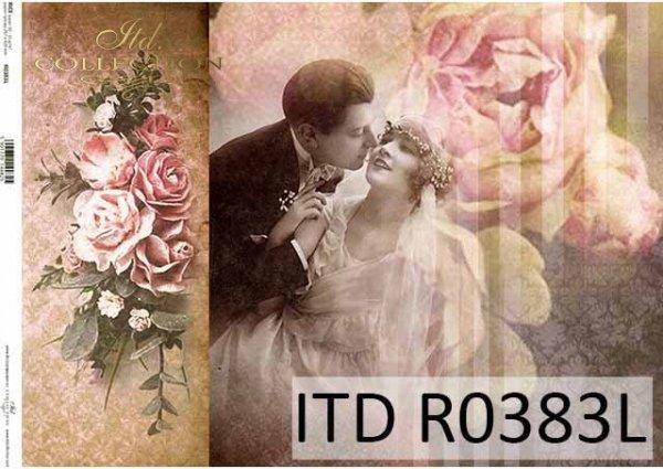 Papier decoupage retro, młoda para, nowożeńcy, zakochani, bukiet róż*Retro decoupage paper, young couple, newlyweds, lovers, a bouquet of roses