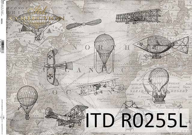 Rice paper A3 R255L - map in gray, planes, balloons