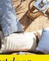 Granatowa poduszka ogrodowa Malmo 50x30