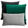Zielono-czarno-szary zestaw poduszek Velvet