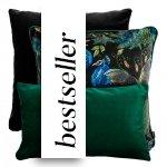 Czarno-zielony zestaw poduszek dekoracyjnych Peacock
