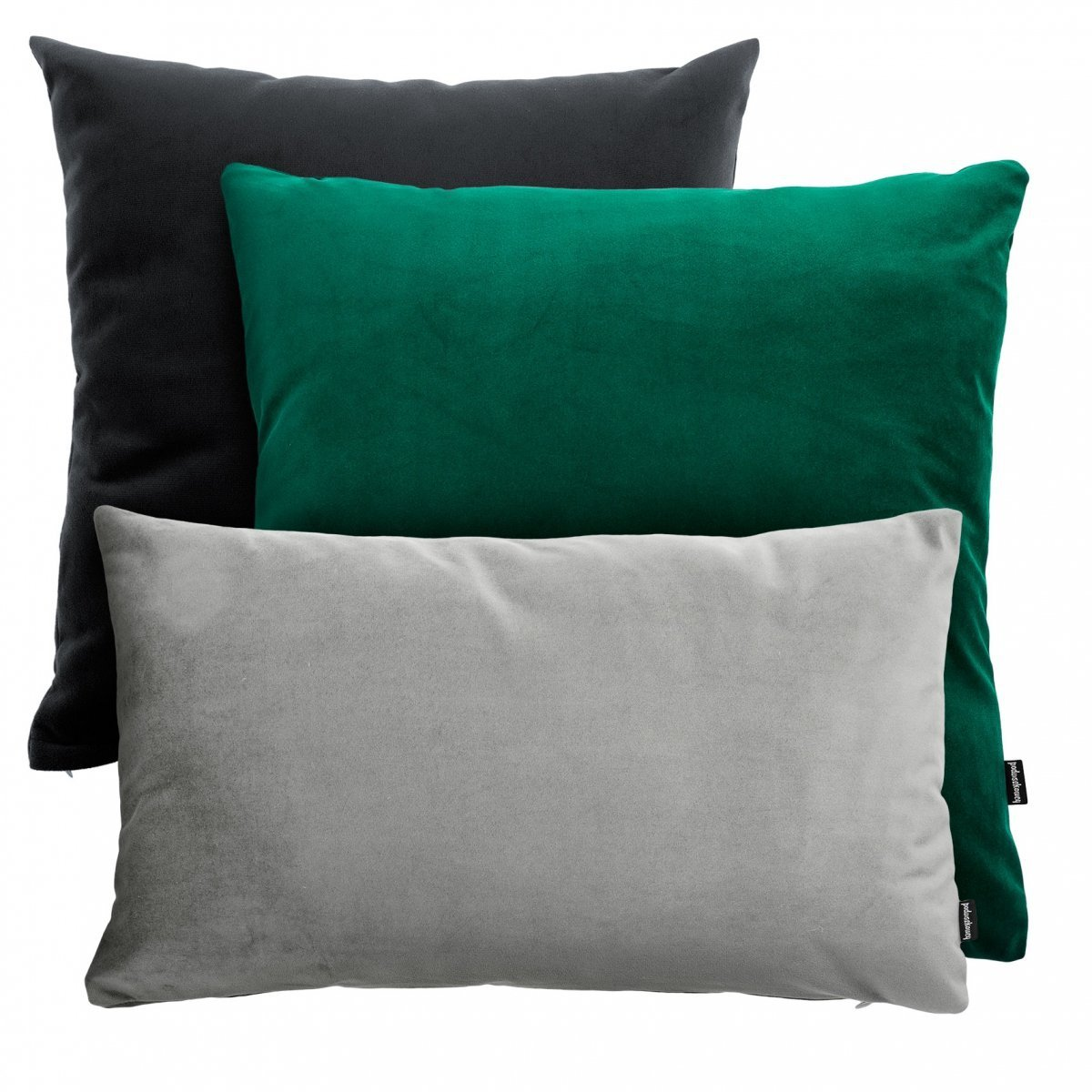 Zielono Czarno Szary Zestaw Poduszek Dekoracyjnych Velvet
