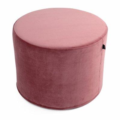 Ciemno różowa pufa welurowa 45x35