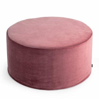 Duża ciemno różowa pufa welurowa 60x30