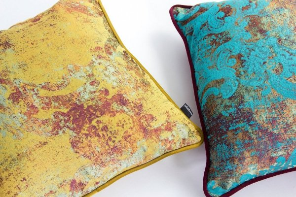 Turkusowo - bordowa poduszka dekoracyjna Gold 40x40