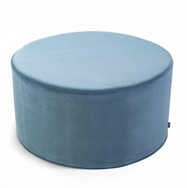 Duża błękitna pufa welurowa 60x30
